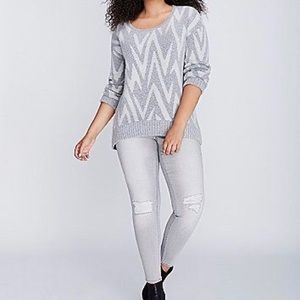 Lane Bryant Chevron Print Crewneck Sweater